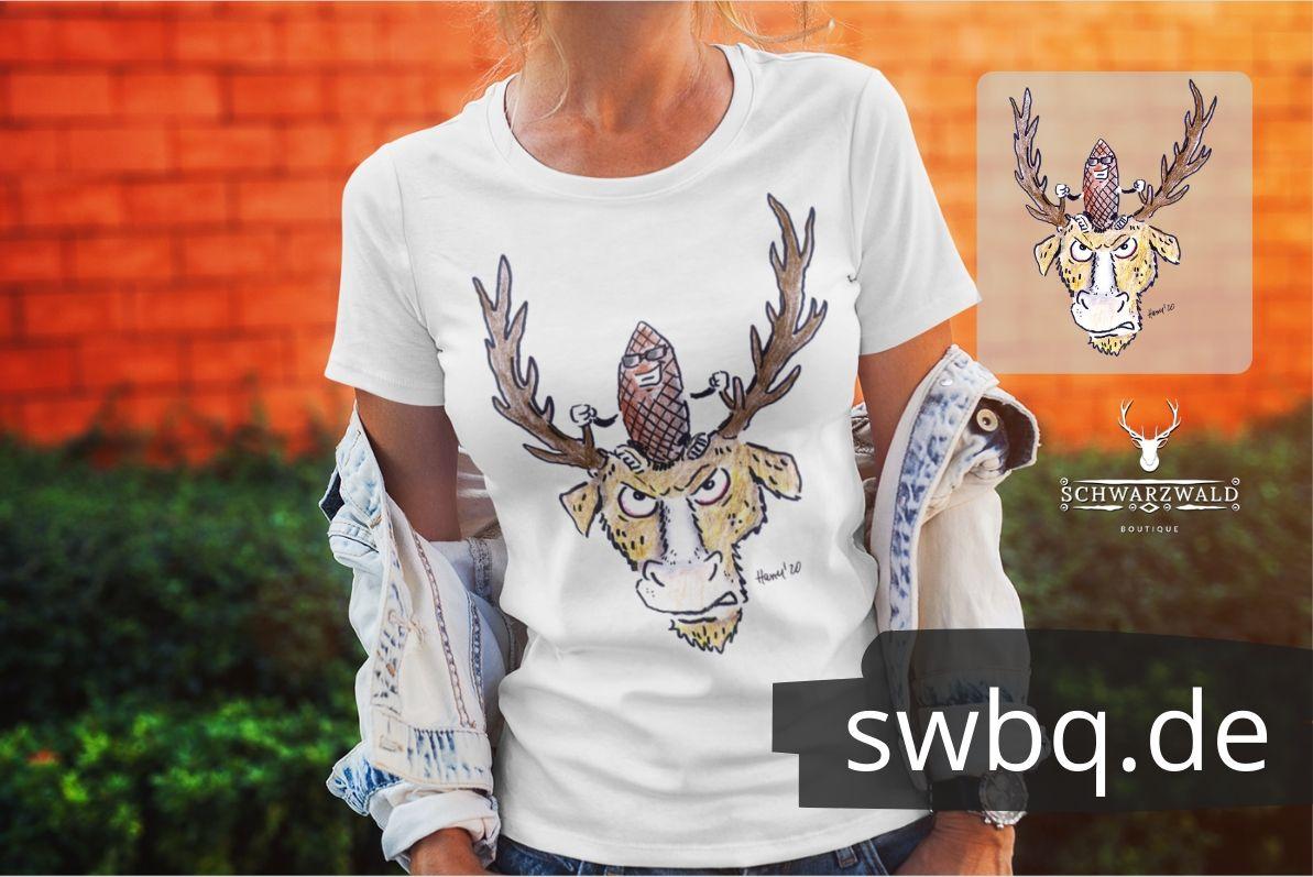 schwarzwald frauen t-shirt - tannenzapfen auf hirsch