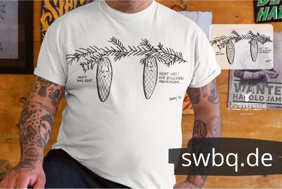 Lustiges Shirt design Schwarzwald Tannenzapfen haengen ab am Baum