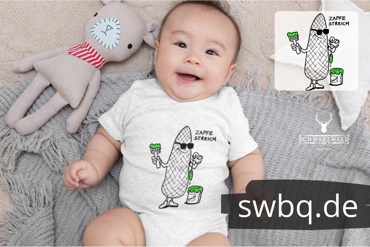 babybody design Schwarzwald Tannenzapfen mit pinsel streicht - zapfenstreich