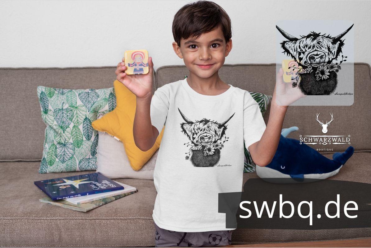 schwarzwald kinder & baby t-shirt - blumen rindvieh