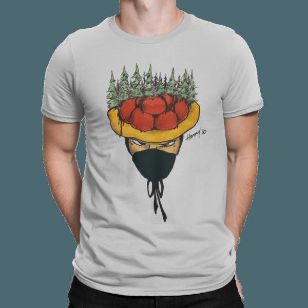 schwarzwald maenner t-shirt - bollenhut maidle gaunerin mit mundschutz