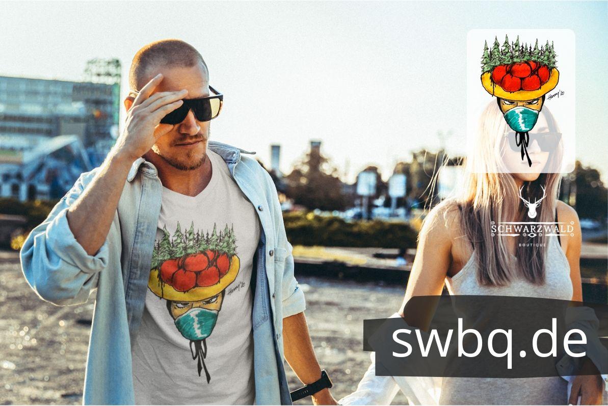 schwarzwald maenner t-shirt - bollenhut maidle mit mundschutz