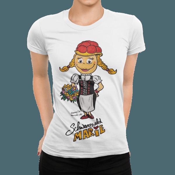 schwarzwald frauen t-shirt - schwarzwald marie mit rotem Bollenhut