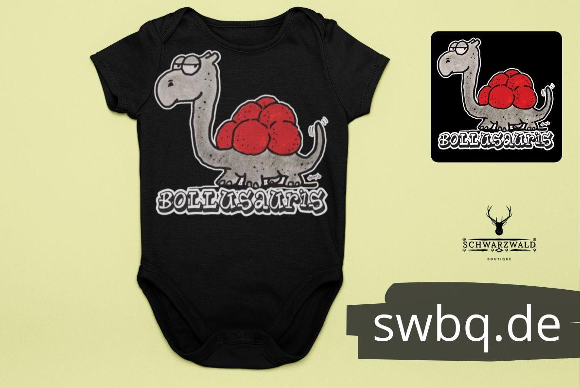 schwarzbaby body - dinosaurier mit bollenhut