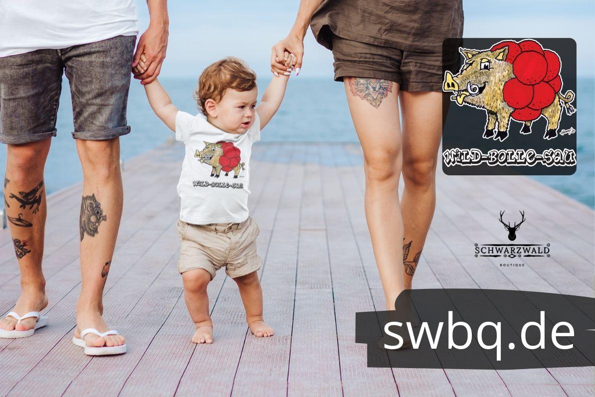 schwarzwald baby t-shirt - wildschwein mit bollenhut