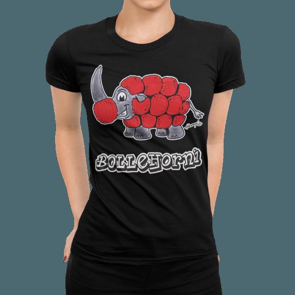 schwarzwald frauen t-shirt - nashorn mit bollenhut