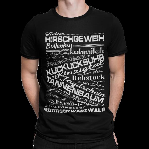 schwarzwald maenner t-shirt - mit schwarzwaelder traditionellen begriffen wie bollenhut und kuckucksuhr