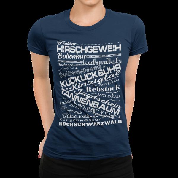 schwarzwald maidle t-shirt - mit schwarzwaelder traditionellen begriffen wie bollenhut und kuckucksuhr