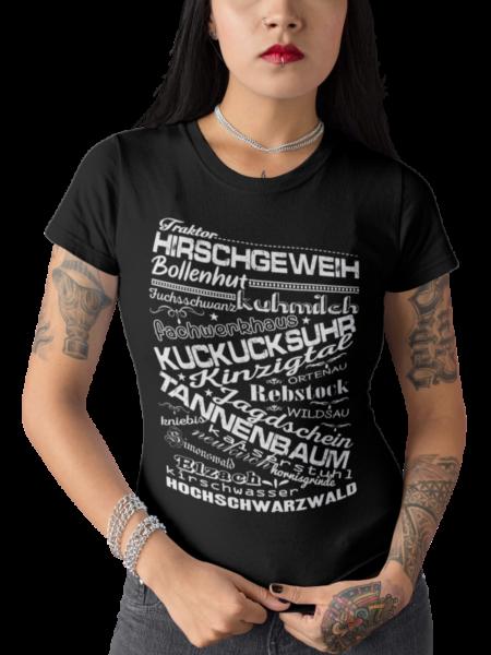 schwarzwald frauen t-shirt - mit schwarzwaelder traditionellen begriffen wie bollenhut und kuckucksuhr