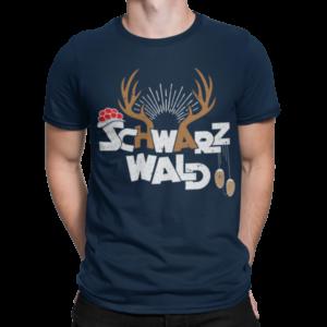Schwarzwald andenken t-shirt - bollenhut kuckucksuhr und hirsch