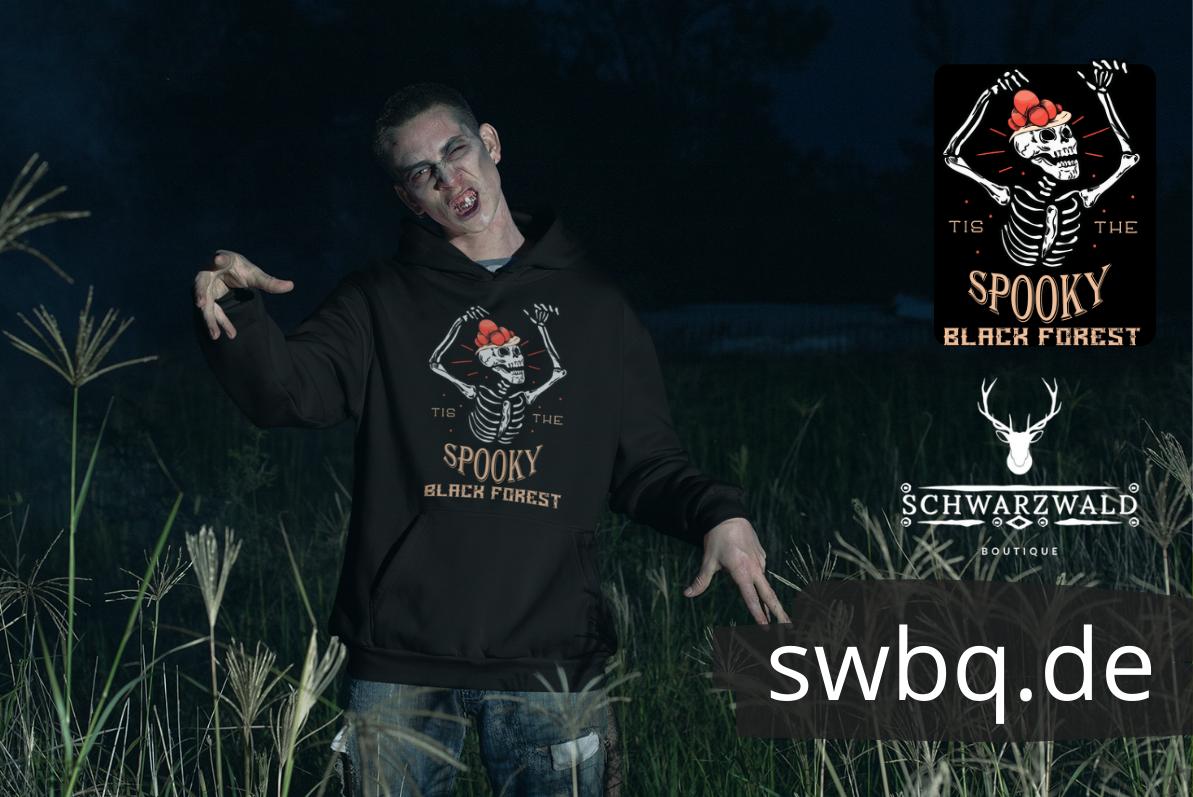 schwarzwald grusel t-shirt - lustiges schwarzwald halloween deko kostuem mit bollenhut skelett