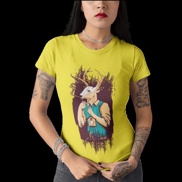 Schwarzwald t-shirt - schwarzwald reisefuehrer als hirsch mit kuckucksuhr und pfeife