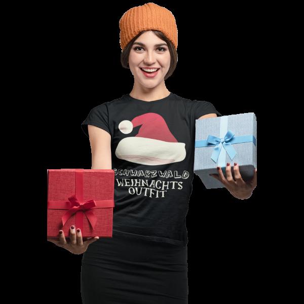 Schwarzwald t-shirt - schwarzwald weihnachtsgeschenk mit weihnachtsmann muetze