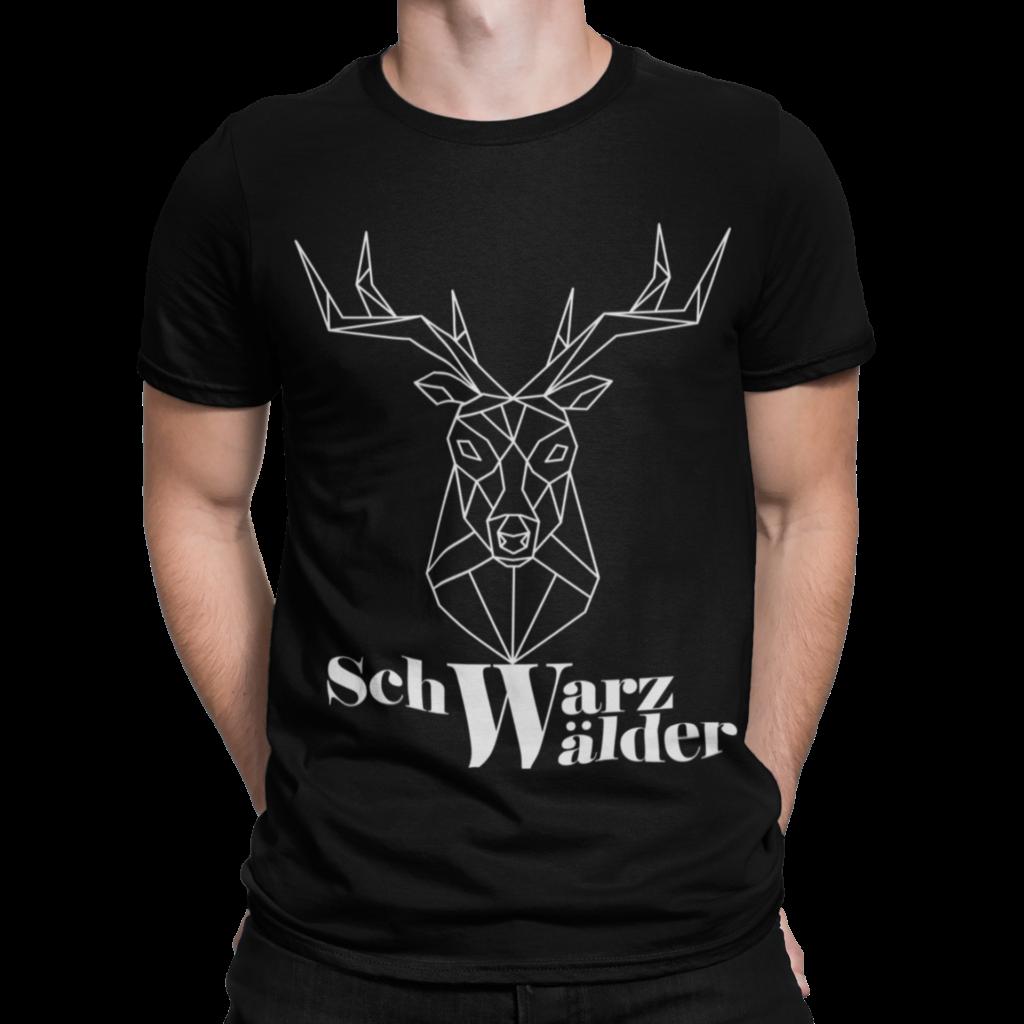schwarzwald maenner t-shirt - mit dem motiv von einem hirsch mit dem Schriftzug Schwarzwälder