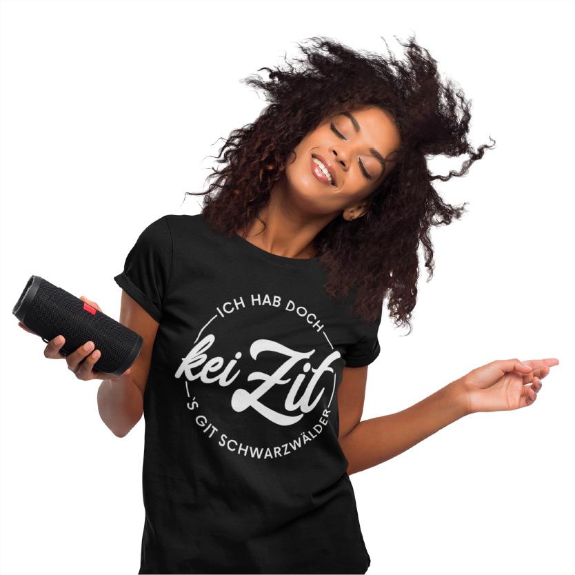 lustiger schwarzwald spruch auf einem t-shirt - ich hab doch kei zit sgibt schwarzwaelder kirschtorte