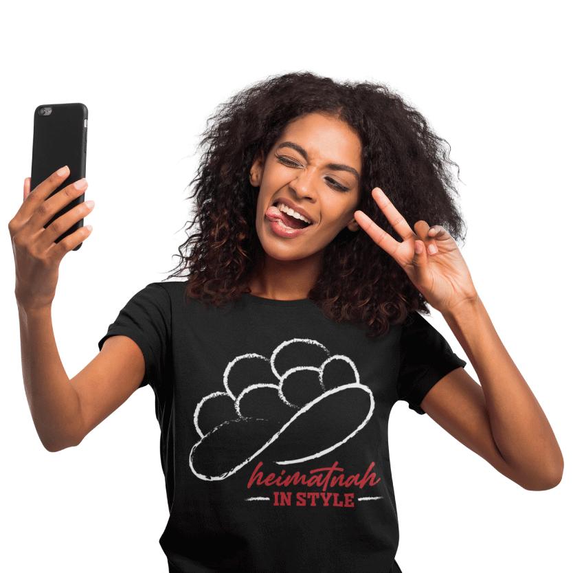 Modernes schwarzwald bollenhut t-shirt - heimatnah heimat in style