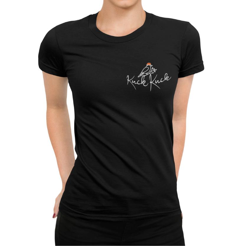 schwarzwald frauen t-shirt - Kuckuck ruf -mit der aufschrift kuckkuck und einer zeichnung von einem kuckuck mit bollenhut
