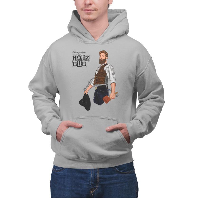 Schwarzwald hoodie schwarzwald holz bub auf dem ein zimmermann im schwarzwald gezeichnet ist der einen zimmermannshut und einen holzhammer in der hand haelt