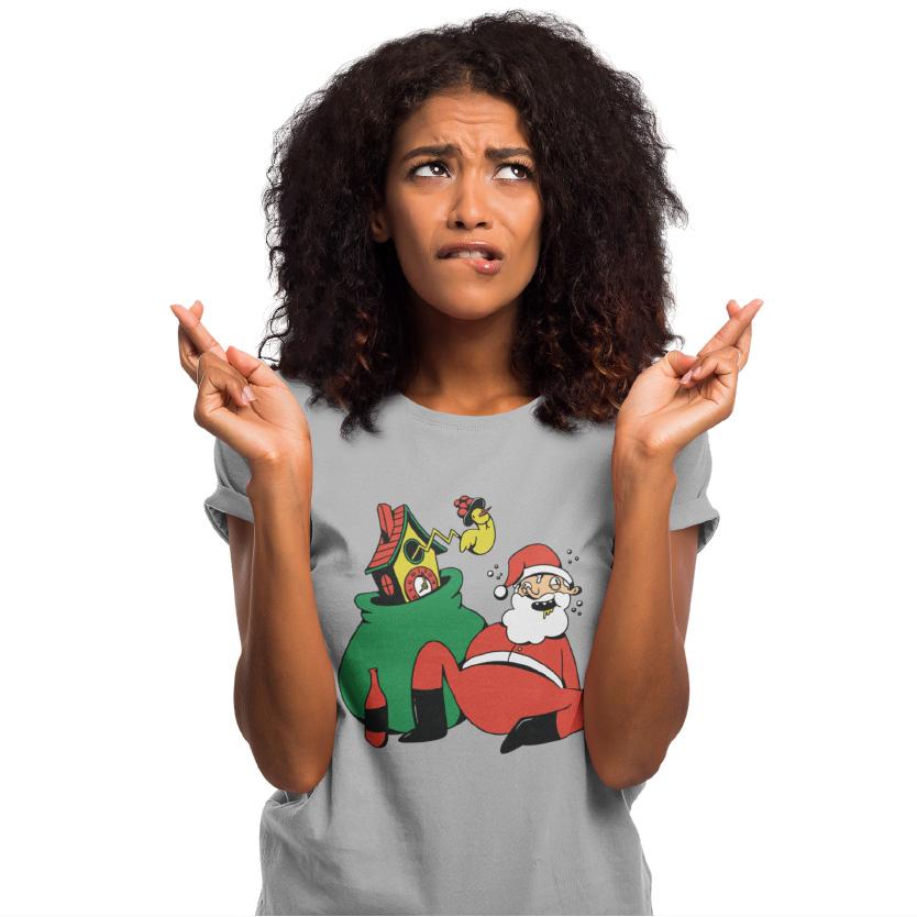 Schwarzwald weihnachten geschenk - schwarzwald nikolaus der betrunken neben seinem nikolaussack liegt aus dem ein kuckuck aus einer kuckucksuhr kommt und neben den sack steht eine weinflasche