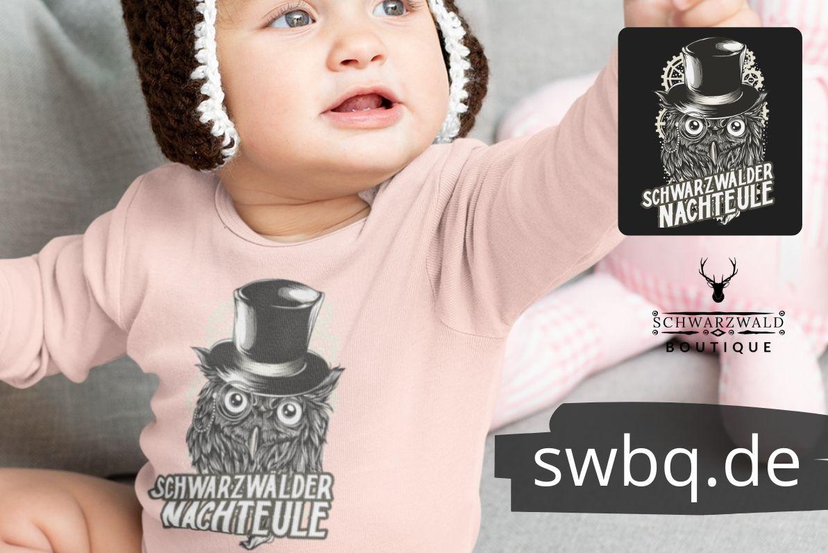 schwarzwald t-shirt - mit einer eule die einen zylinder traegt und die aufschrift schwarzwaelder nachteule