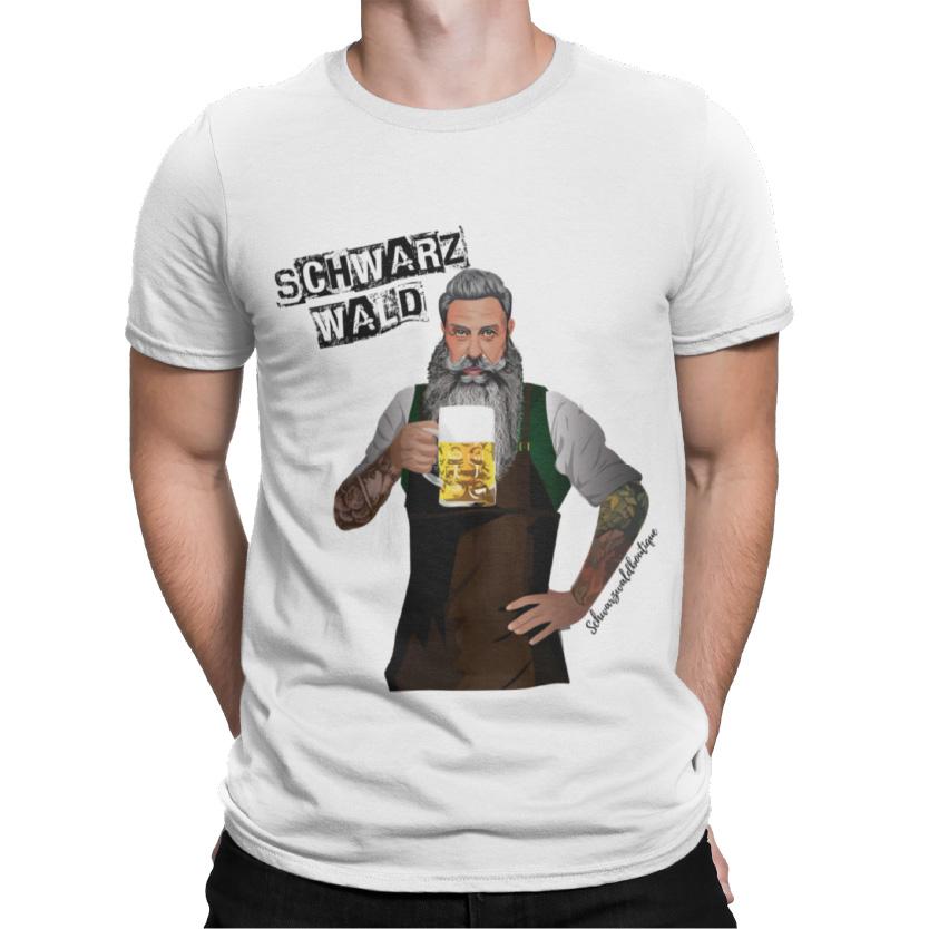 schwarzwald maenner t-shirt - schwarzwald bier, bierbrauer mann mit vollbart und bierbrauer schurz und einem halben liter schwarzwald bier