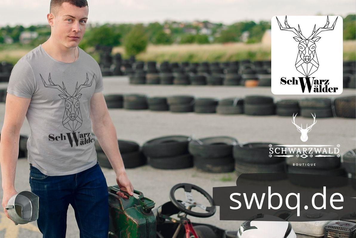 Schwarzwald maenner t-shirt - schwarzwaelder mit einem hirschkopf als lineart zeichnung und der aufschrift schwarzwaelder