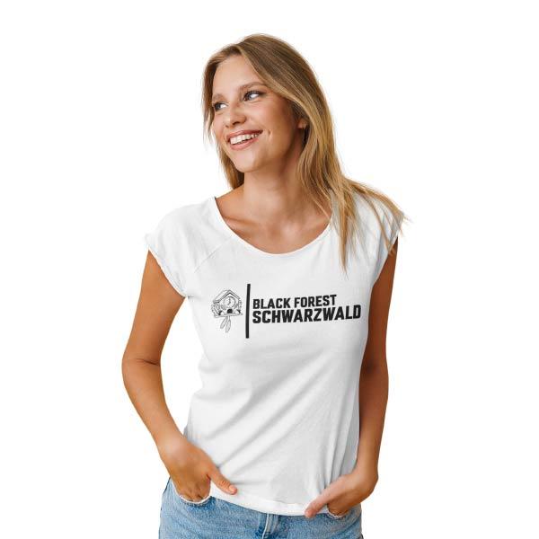 weisses t-shirt mit der aufschrift black forest schwarzwald und einem bild von einer kuckucksuhr