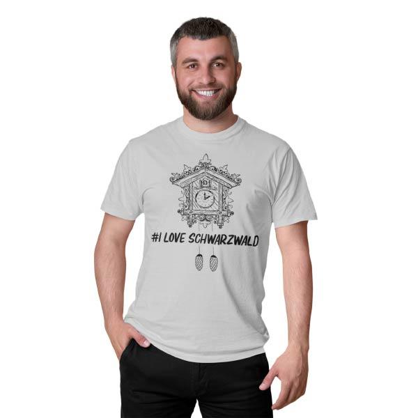 graues maenner t-shirt auf dem eine kuckucksuhr mit der aufschrift hashtag i love schwarzwald steht