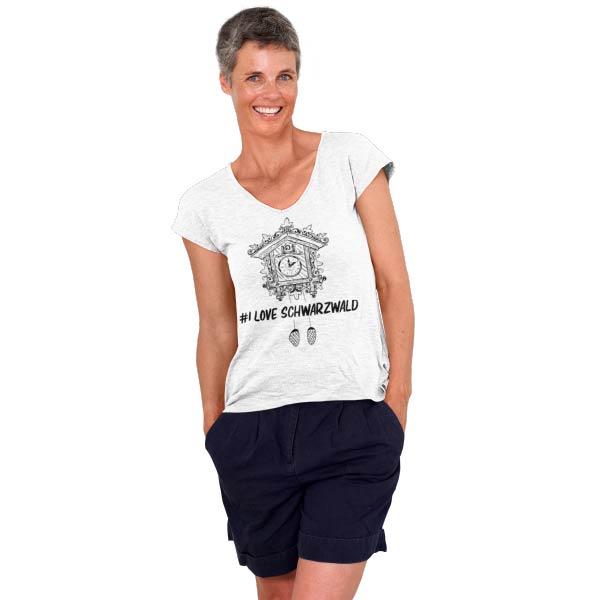 weisses frauen t-shirt auf dem eine kuckucksuhr mit der aufschrift hashtag i love schwarzwald steht