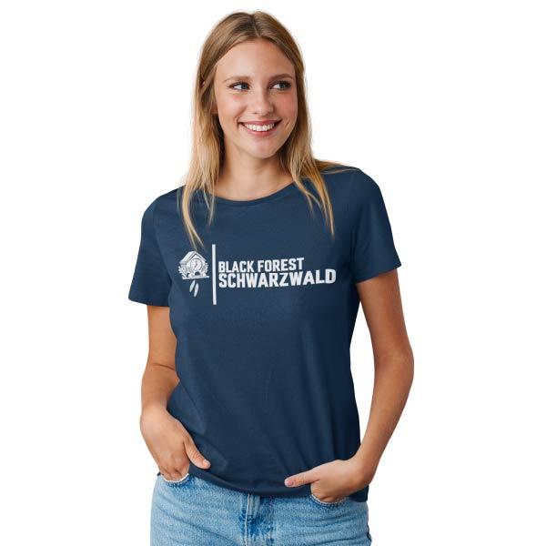 blaues frauen t-shirt mit der aufschrift black forest schwarzwald und einem bild von einer kuckucksuhr