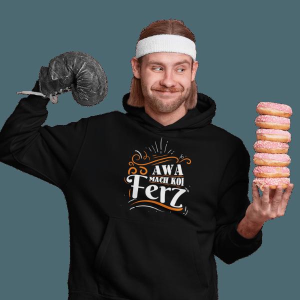 mann mit boxhandschuh und donuts mit schwarzem hoodie mit design mach koi ferz