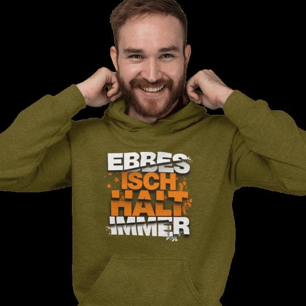 mann mit gruenem hoodie mit motiv ebbes isch halt immer
