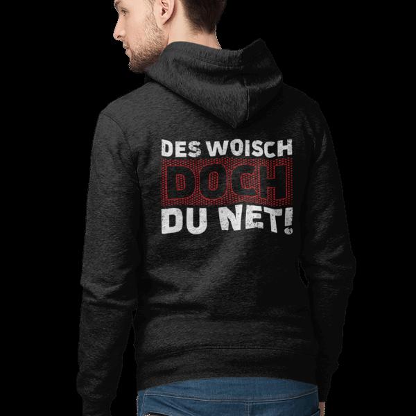 mann mit schwarzem hoodie mit motiv des woisch doch du net