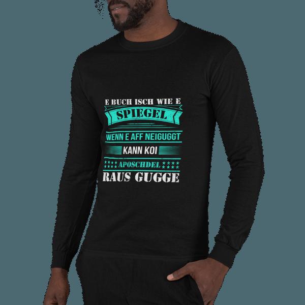 mann mit bart mit schwarzem langarm t-shirt mit motiv alemannisch raus gugge logo