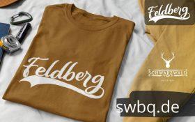 braunes t-shirt zusammen gefaltet mit logo feldberg
