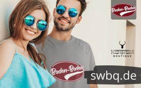 paerchen mit sonnenbrille mann mit grauem shirt mit baden-baden design