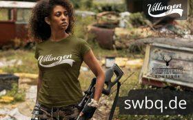 frau mit gewehr mit gruenem t-shirt mit villingen logo