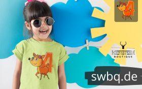 maedchen mit sonnenbrille und hellgruenem shirt mit 4. geburtstag schwarzwald motiv