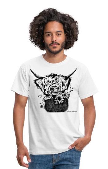 schwarzwald männer t-shirt - blumen rindvieh