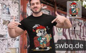mann mit bart und schwarzem t-shirt mit gangster hase aufdruck