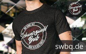 schwarzes maenner t-shirt mit dem aufdruck schwarzwald bub (mir kinne des)