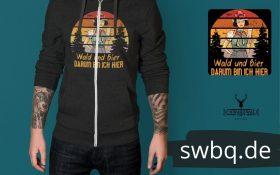 schwarzwald maenner hoodie - wald und bier darum bin ich hier