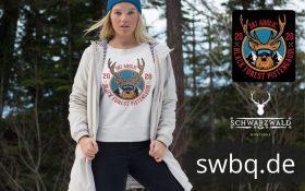 schwarzwald maenner t-shirt - mit dem motiv von einem hirsch mit skibrille und dem spruch ski aholic, black forest pistengaudi