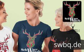 Schwarzwald frauen t-shirt - schwarzwaelderen t-shirt mit einem hirschkopf als lineart zeichnung und der aufschrift schwarzwaelderin
