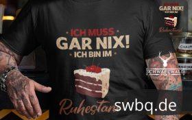 schwarzes t-shirt mit ruhestand mit schwarzwaelder design